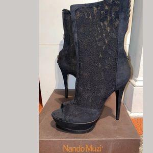 New Nando Muzi Suede Lace Heels Open Toe Boots, 9